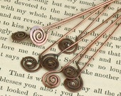 Hand Hammered (6) Copper Spiral Head Pins (4 inch)