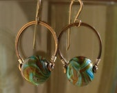 Green, Brown and Blue Marbled Ball Lampwork Bead Earrings