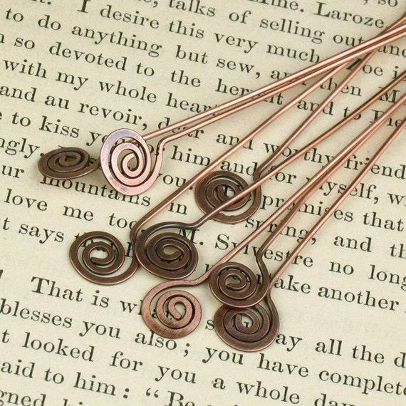 Hand Hammered (6) Copper Spiral Head Pins (4 inch)