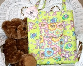 Quilted Girl's Book Tote Bag with Pleated Front Pocket in Girl Monkeys