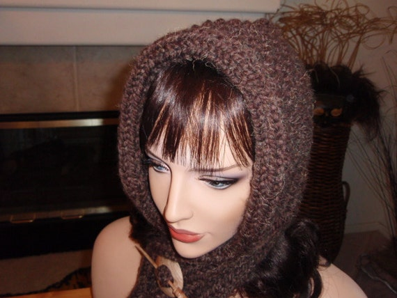 Hooded  Scarf Collection  - Rich Brown with Wooden Shawl Pin
