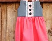 Vintage Inspired Grey and Coral Polka Dot Dress