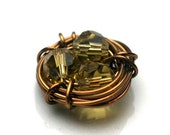 Birds Nest Wirewrapped Antiqued Golden Colored Crystal Pendant Charm Connector