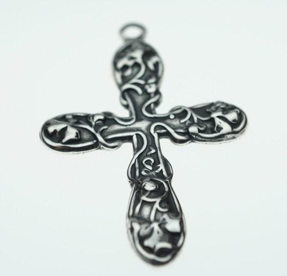 Custom Order for Juanita - Trinity Brass Antique Silver Medium Floral Cross