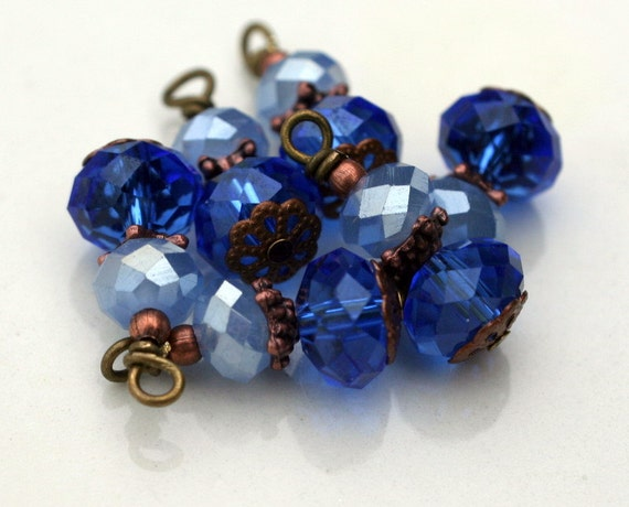 6 Piece Royal Blue and Pearlized Baby Blue AB Bead Dangle Charm Drop Set
