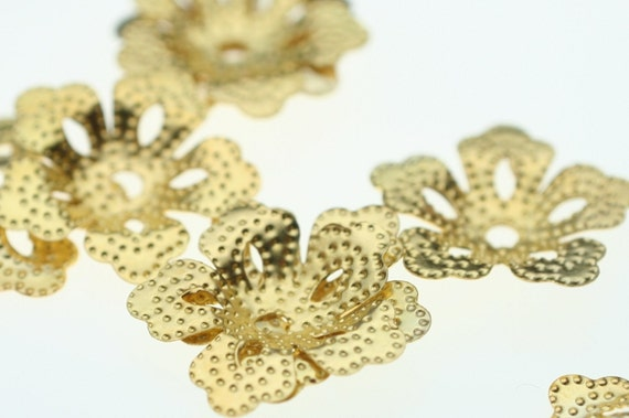 17mm Gold Beaded Flower Beadcaps - 12 Pieces