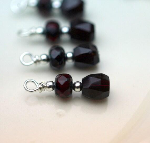 Bead Dangle Charm Drop Set - 6 Piece Deep Dark Ruby Red Czech Firepolisehd Bead Set