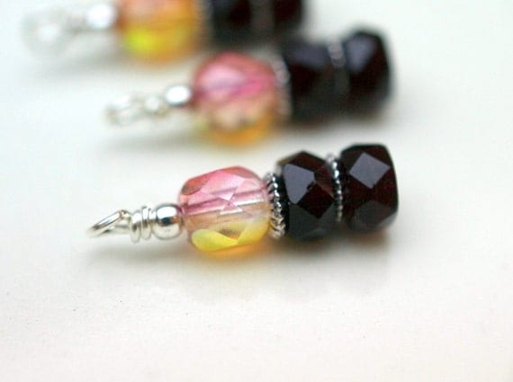 4 Piece Bead Dangle Charm Drop Set in Ruby Red and Golden Strawberry Lemonade Czech Beads