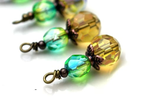 Bead Dangle Drop Charm Set in Golden Yellow and Green Turquoise Czech - 4 Pieces