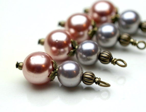 Vintage Style Peach and Gray Luster Pearl Bead Dangle Drop Charm Set - 4 Piece