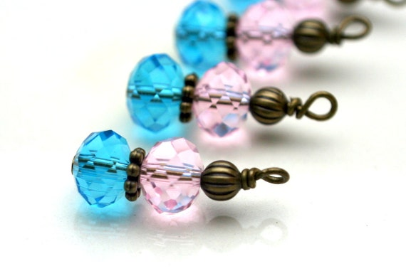 Aqua Blue and Pink with Brass Bead Drop Dangle Charm Set - 4 Piece