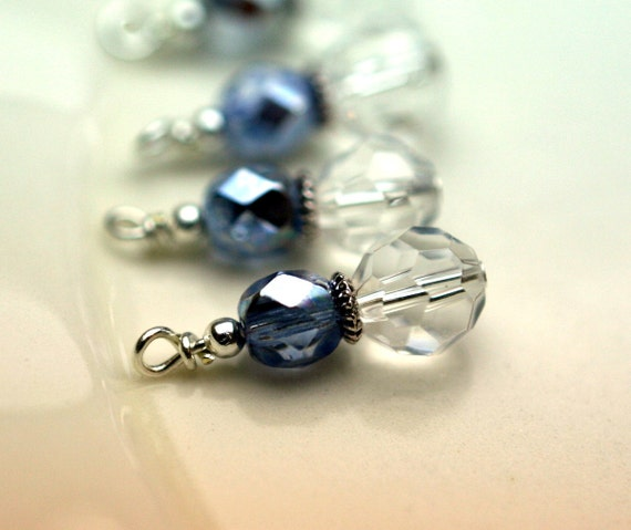 Bead Drop Dangle Charm Set in Clear and Periwinkle Czech Crystals - 4 Pieces