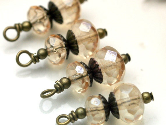 Vintage Style Champagne Luster Czech Bead Dangle Charm Drop Set - 4 Piece