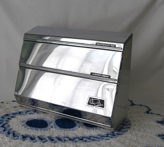 Vintage Kitchen Wall Wrap Holder - Aluminum foil, Waxed paper and Paper towel Storage