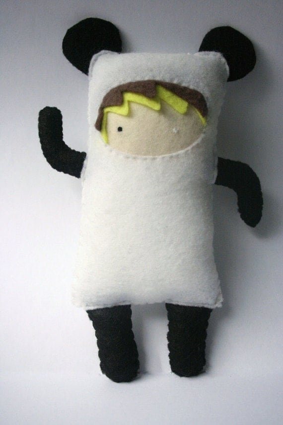 Panda suited felt girl plush