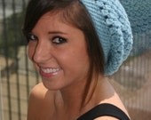 KELECHI - Sea Blue Slouchy Beanie Hat - blue slouchy hat