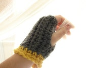 Ready to ship Hobo Gloves-Light Grey and Yellow Fingerless Gloves