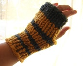 10 Dollar Summer Sale- Hobo Gloves-Handknit Striped Fingerless Mitts in Charcoal and Mustard