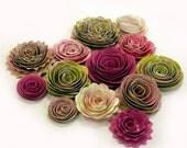 Handmade Spiral Flowers - Pink Kiwi - As Seen In 'Bride's Mag. - Set of 13