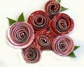 Set of 7 Handmade Spiral Flowers -Strawberry Shortcake