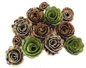 Handmade Spiral Flowers - Mint Chocolate Chip - As Seen In 'Bride's' Mag. 6/10 - Set of 12