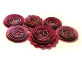 Handmade Spiral Flowers - Shades of Pink- As Seen In 'Bride's' Mag. 6/10 -  Set of 6