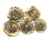 Handmade Spiral Flowers Vintage Sheet Music II - Set of 5