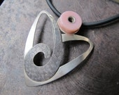 Etched Silver Spiral Heart pendant with Pink Peruvian Opal - simplyMegA
