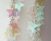 Star Earrings Twinkling Iridescent Clear Stars Dangling