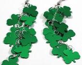 St Patrick's Day Shamrock Earrings Green Metallic Clover Dangles Plastic Sequin Jewelry