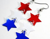4th of July Earrings Red White & Blue Stars Patriotic Dangles