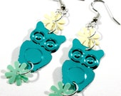 Turquoise Owl Earrings Yellow & Green Retro Flowers Dangle