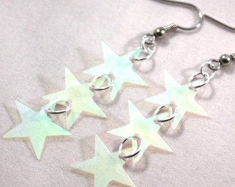 Shooting Star Earrings Clear Iridescent Stars Confetti Dangles Plastic Sequins