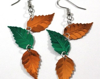 Autumn Falling Leaf Earrings Orange & Green Metallic Confetti Dangles Plastic Sequins