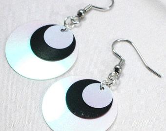 White & Black Circle Sequin Earrings Modern Iridescent Dangles Plastic Sequins