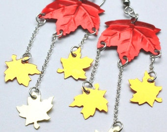 Autumn Maple Leaves Earrings Metallic Fall Leaves Sterling Silver Chain Dangle Plastic Sequin Jewelry