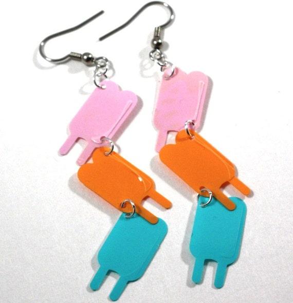 Popsicle Earrings Summer Frozen Treat Dangle Pastel Color Confetti Plastic Sequins