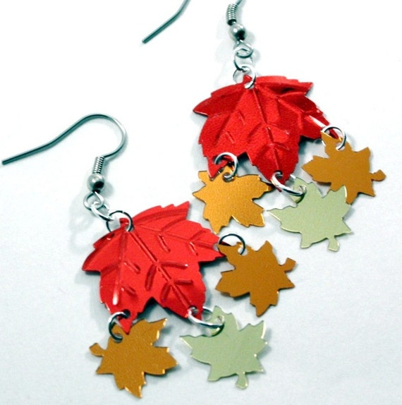 Autumn Earrings Fall Leaves Earrings Red Orange & Gold Confetti Dangles Plastic Sequin Jewelry