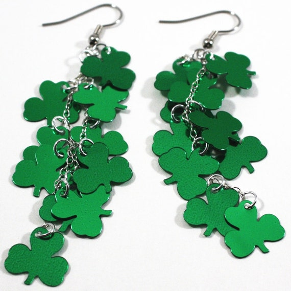 St Patrick's Day Shamrock Earrings Green Metallic Clover Dangles Plastic Sequin Jewelry