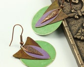 Boho Earrings Mint Green Lavender Brass Patina Mixed Metal Southwest Boho Jewelry
