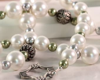 Big White Pearl Necklace, Bridal Jewelry, Mother of the Bride, Moss Green Pearls