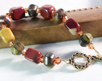 Moukaite Jewelry Deep Red Mustard Jasper Gemstone Copper Honey Gold Chunky Bracelet Gold Toggle Clasp Beaded Bracelet