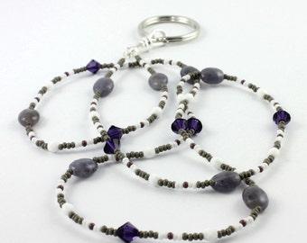 Purple Badge Lanyard Gray ID Lanyard Office Fashion White Badge Holder Gemstone Lanyard Beaded ID Leash Gift for Coworker Gray ID Necklace