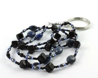 Black ID Lanyard Gemstone Denim Blue Badge Holder Gray Beaded Lanyard Office Fashion