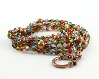 Copper Metallic Crystal Necklace Olive Green Necklace Autumn Fashion Topaz Necklace Copper Pearl Jewelry Blue Multistrand Red Fall Fashion