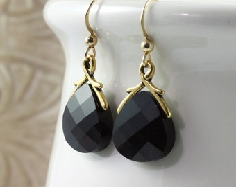 Black Crystal Earrings Jet Black Briolette Classic Gold Filled Sophisticated Prom Jewelry Mothers Day Jewelry