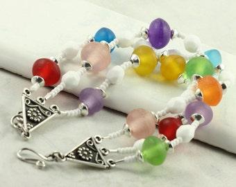Spring Fashion Pastel Bracelet Red White Green Aqua Orange Lavender Rainbow