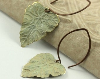 Sage Green Earrings Botanical Leaf Earrings Wedding Earrings Bohemian Jewelry Fall Leaf Earrings Woodland Earrings Olive Green Jewelry Brass