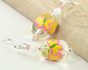 Easter Earrings Butterfly Pink Yellow White Crystal Egg Shaped Sterling Silver Easter Jewelry Mothers Day Jewelry