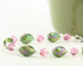 Green Pink Bracelet Spring Fashion Easter Egg Shaped Glass Beads Easter Jewelry Sterling Silver Beaded Bracelet